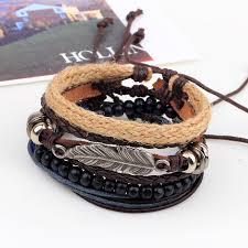leather leaf bracelet images Vintage tribal bohemian feather boho silver alloy leaf leather jpg