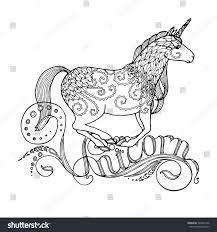 running unicorn writing fairy stock vector 395041246