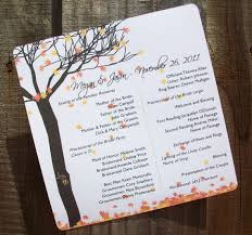fall wedding programs fall leaves and tree personalized wedding programs by 6elmdesigns
