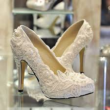 ivory shoes for wedding lace and pearl wedding white lace pearl s shoes bridal