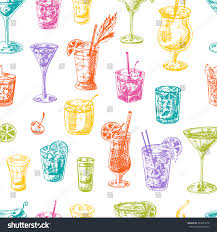 cosmopolitan clipart seamless pattern cocktails hand drawn vector stock vector
