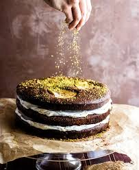 flourless chocolate pistachio pear layer cake paleo