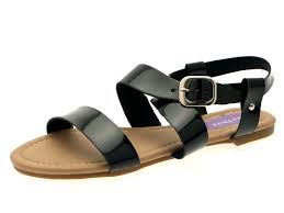 womens patent flat strappy sandals ladies summer buckle open shoes