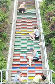 taking big steps project turns westmont staircase into rainbow of