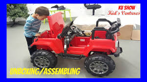 power wheels wheels jeep wrangler picking up the toy surprise unboxing assembling power wheel ride