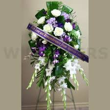 flower for funeral funeral flowers standing spray in purple w flowers ottawa