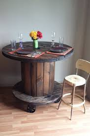 Cable Reel Table by Reclaimed Wood Cable Spool Pub Dining Table Bar By Rustoregon