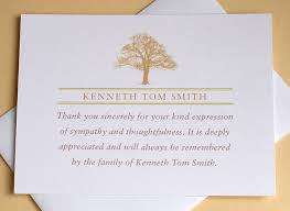 thank you for sympathy card funeral thank you notes with a strong tree personalized personalized