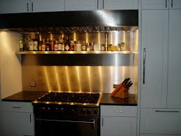 Stainless Steel Backsplash With Custom Shelf Brooks Custom - Custom stainless steel backsplash