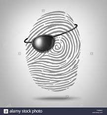 Identity Theft Red Flags Privacy Piracy Concept And Identity Theft Symbol As A Finger Print