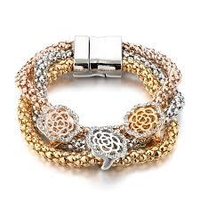magnetic gold bracelet images Gold plated women magnetic bracelet flower ar collections jpg