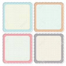 a set of cute retro icons or frames in pastel colours these