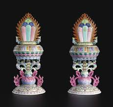 a pair of famille flaming pearl altar ornaments seal marks
