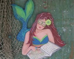 mermaid wall guitar painted wood coastal