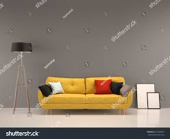 living room gray wall yellow sofainterior stock illustration