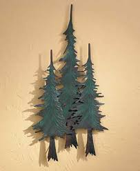 wooden pine tree wall lodge wall decor wings