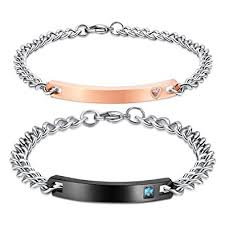 custom engraved bracelet nehzus his and hers stainless steel personalized