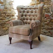 Cloth Chesterfield Sofa by Tudor 100 Wool Tweed Button Back Chesterfield Armchair In Tartan