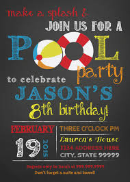 Invitation Card For Pool Party Birthday Pool Party Invitation Pool Party Bash Invite Chalkboard
