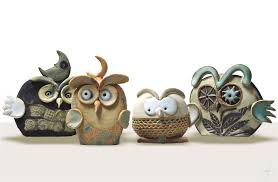 handmade italian ceramic home decor by r biavati clay wistles owls