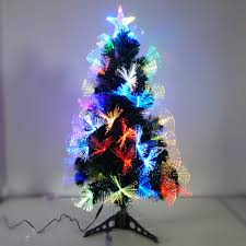 Christmas Tree With Optical Fiber Lights - 60cm or 90cm plastic pine needle bar green christmas tree with led
