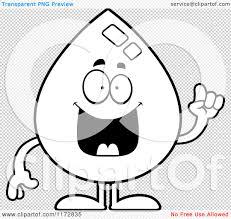 cartoon clipart of a smart water drop mascot with an idea vector