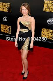 online shop carpet miley cyrus black u0026 gold cocktail dress