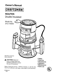 craftsman router 315 175 user guide manualsonline com