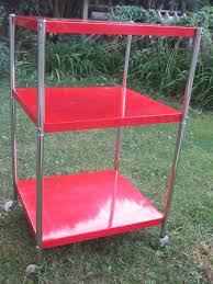 coca cola 3 tier shelf metal rolling utility cart storage stand