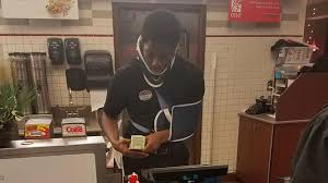 chickfila halloween fil a employee working despite being in car accident