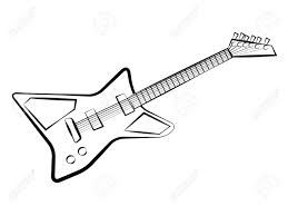 electric guitar in monochrome clip art 43