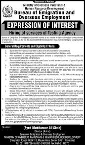 bureau of employment bureau of emigration overseas employment islamabad tender notice