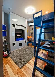 Loft Bed Hanging From Ceiling by Bedroom Blue Walls With Roman Shades And Wall Murals Also