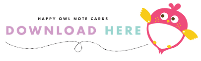 printable happy owl note cards design is yay