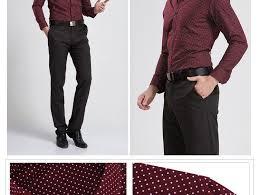 cotton polka dot men casual business dress shirt brand long sleeve