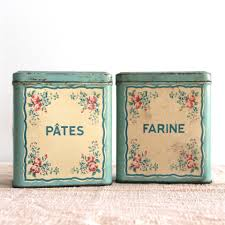 pair french floral kitchen tins bayside vintage