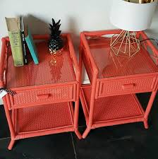 pair of upcycled retro painted vintage cane rattan bedside tables