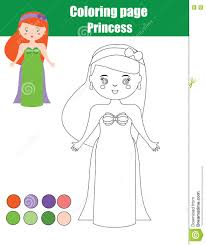 coloring page with princess cute children educational game