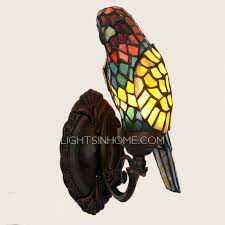Pineapple Sconce Decorative Parrot Shaped Stained Glass Shade Vintage Wall Sconce