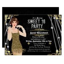 gatsby invitations great gatsby flapper sweet 16 birthday invitation zazzle