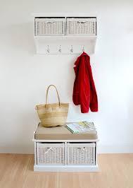 Hallway Bench Storage by Tetbury Grey Bench With 2 White Baskets Hallway Storage Bench