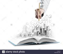 opened book and hand drawing building sketches stock photo