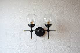 free shipping wall sconce black and gold brass 2 globe modern