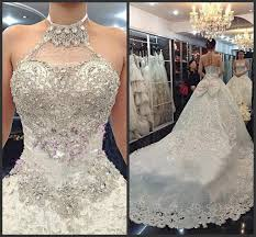 wedding dress with bling bling bling luxury crystals beaded wedding dresses a line halter