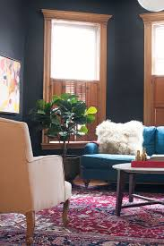 Anthropologie Room Inspiration by Black Walls Benjamin Moore Black Beauty Teal Winifred Sofa From