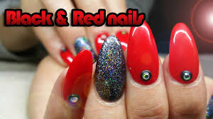 red and glittery black nail art design youtube