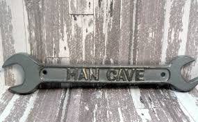man cave sign wrench wall art decor silver cast iron home decor