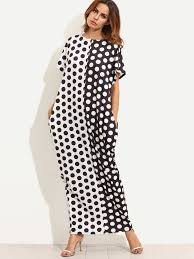 contrast polka dot print pockets maxi tee dress shein sheinside