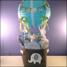 air balloon shower elephant themed gift basket babygift