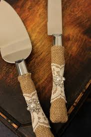 Wedding Cake Cutter Wedding Cake Server And Knife Burlap And Lace By Brilliantbride